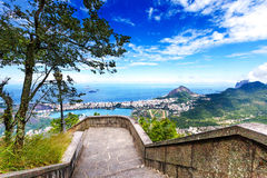 View into Rio de Janeiro from the steps at Christ the Redeemer s Stock Photography
