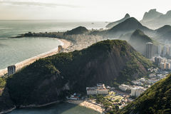 View of Rio de Janeiro From the Sugarloaf Mountain. View of misty Rio de Janeiro city by sunset from the Sugarloaf Mountain Royalty Free Stock Image