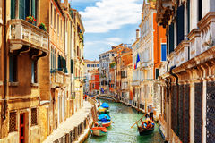 View of the Rio Marin Canal from the Ponte de la Bergami. Venice Royalty Free Stock Image