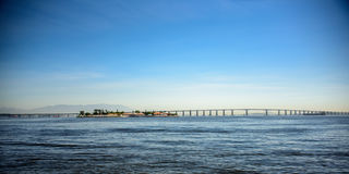 View of the Rio-Niteroi Bridge, crossing Guanabara Bay, Brazil royalty free stock photo