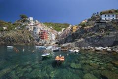 View of Riomaggiore village Stock Photos