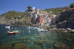 View of Riomaggiore village & x28;Long Exposure& x29; Stock Photo