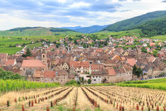 View of Riquewihr village in Alsace Stock Photos