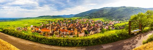 View of Riquewihr village in Alsace, France. Riquewihr typical and small medieval village, situated in Alsace region, France Royalty Free Stock Photos