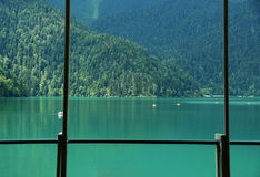 View of Rits's lake from cafe Stock Image