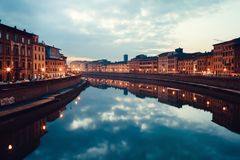 Arno In Pisa At Dusk Royalty Free Stock Images