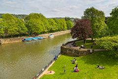 View of the River Avon, Bath, England, UK. Bath, England, UK- 04 May 2014: View of the River Avon in the historic city of Bath in Somerset Stock Image