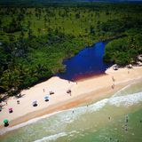 View of the river and beach in Cumuruxatiba, Prado, Bahia, Brazil. View of the river and beach in Cumuruxatiba, city of Prado, Bahia state, Brazil stock image