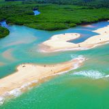 View of the river and beach in Cumuruxatiba, Prado, Bahia, Brazil. View of the river and beach in Cumuruxatiba, city of Prado, Bahia state, Brazil stock photography
