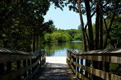 View of river from boardwalk pier Royalty Free Stock Photos