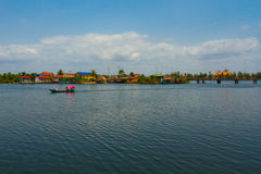 The view of a river with boat from a riverside temple of Kampot, Stock Photography