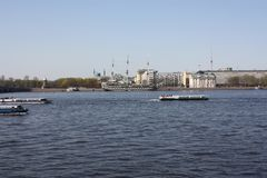 The view of the river, bridge and boats. In petersburg royalty free stock photography