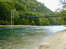 The bridge in Alerces Patagonia stock images