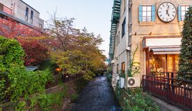 View of the river channel near the building, Kyoto, Japan. Copy space for text. View of the river channel near the building, Kyoto, Japan. Copy space for text Stock Image