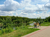 View of the river Cna in Tambov in Russia. View of the river Cna in Tambov in Central Russia royalty free stock photos