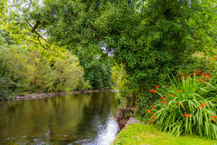 View of the river Cong from the bank of the river in the village. Of Cong, Co. Mayo, Ireland Stock Image