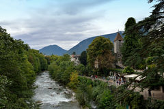 View of the river and the countryside of Merano,Italy Stock Images