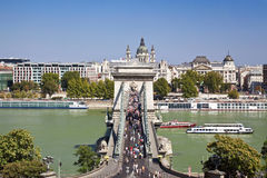 View of river the Danube and chain bridge in Budapest Stock Images