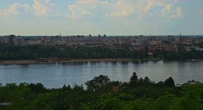 View on river Danube and City of Novi Sad, Serbia.  royalty free stock photos