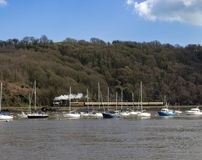 The River Dart, near Dartmouth Devon. A view of the River Dart near Darmouth close to the home of Agatha Christie. On a boat travelling from Greenway House to royalty free stock photo