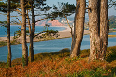 View of a river delta and a barrier beach in southern Devon, UK. Stock Images