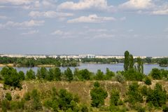View on river Dnieper and city Komsomolsk. View on the river Dnieper and city Komsomolsk Royalty Free Stock Image