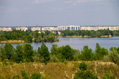 View on river Dnieper and city Komsomolsk. View on the river Dnieper and city Komsomolsk Stock Image