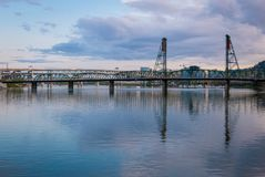 River view in downtown Portland, Washington Royalty Free Stock Images