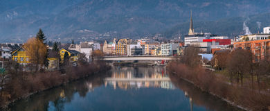 View of river Drava in Villach, Austria, December of 2014 Stock Images