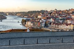 View of the river duero Oporto. View from the top of the city of Porto and the river Douro, with its colorful buildings and bridges royalty free stock photography
