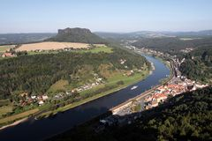 View at the river elbe. View to the mountain lilienstein and the river elbe. These are part of the beautiful national park Sächsische Schweiz in saxony Stock Image