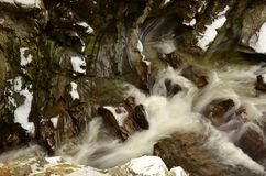 River Bruar - The Falls of Bruar in Perthshire. A view of the river at the falls of Bruar in rural Perthshire during winter Stock Photography