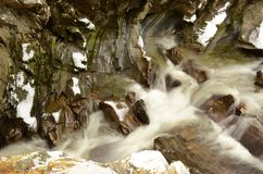 River in Winter - The Falls of Bruar in Perthshire. A view of the river at the falls of Bruar in rural Perthshire during winter Royalty Free Stock Photography