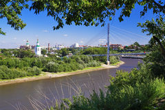 View of the river, footbridge and Church Royalty Free Stock Image