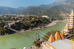 View of River Ganga and Laxman Jhula bridge Stock Photography