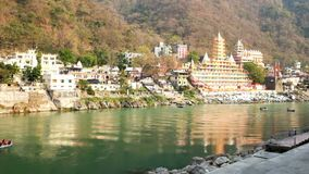 View on the river Ganga at Laxmanjhula in India stock video