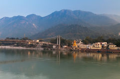 View of River Ganga and Ram Jhula bridge Stock Photo