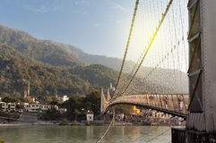 View of River Ganga and Ram Jhula bridge Royalty Free Stock Photography