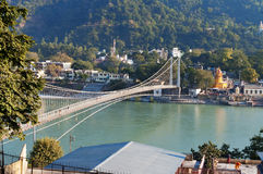 View of River Ganga and Ram Jhula bridge Royalty Free Stock Images