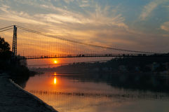 View of River Ganga and Ram Jhula bridge at sunset Royalty Free Stock Image