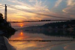 View of River Ganga and Ram Jhula bridge at sunset Royalty Free Stock Images