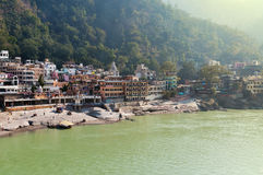 View of River Ganges in Laxman Jhula at the moning Royalty Free Stock Image