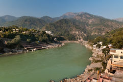 View of River Ganges in Laxman Jhula at the moning Stock Images