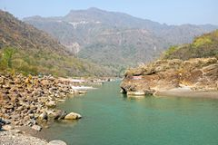 View on the river Ganges near Laxman Jhula in India. Asia Stock Photography