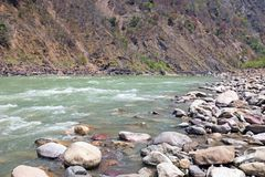 View on the river Ganges near Laxman Jhula in India. Asia royalty free stock images