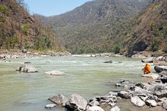 View on the river Ganges near Laxman Jhula in India Stock Image