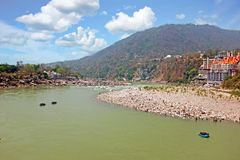 View on the river Ganges near Laxman Jhula in India. Asia royalty free stock photography
