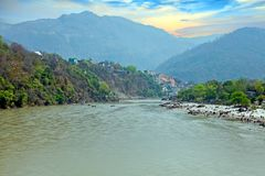 View on the river Ganges near Laxman Jhula in India. Asia stock photos