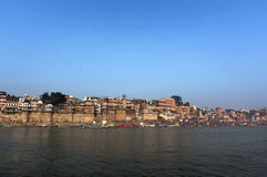 View from the river Ganges in Varanasi Stock Photo