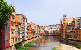 View of river  at Girona in simmer day. Catalonia Royalty Free Stock Image